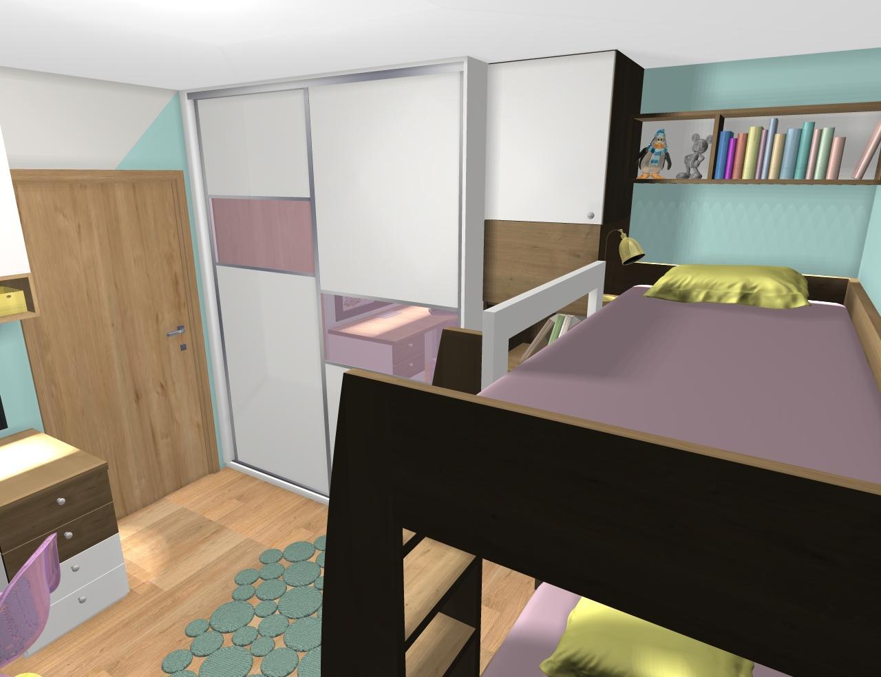 Grafické návrhy interiér 2019 - Grafický návrh detskej izby pre dve dievčatká - verzia 1 - obr.4