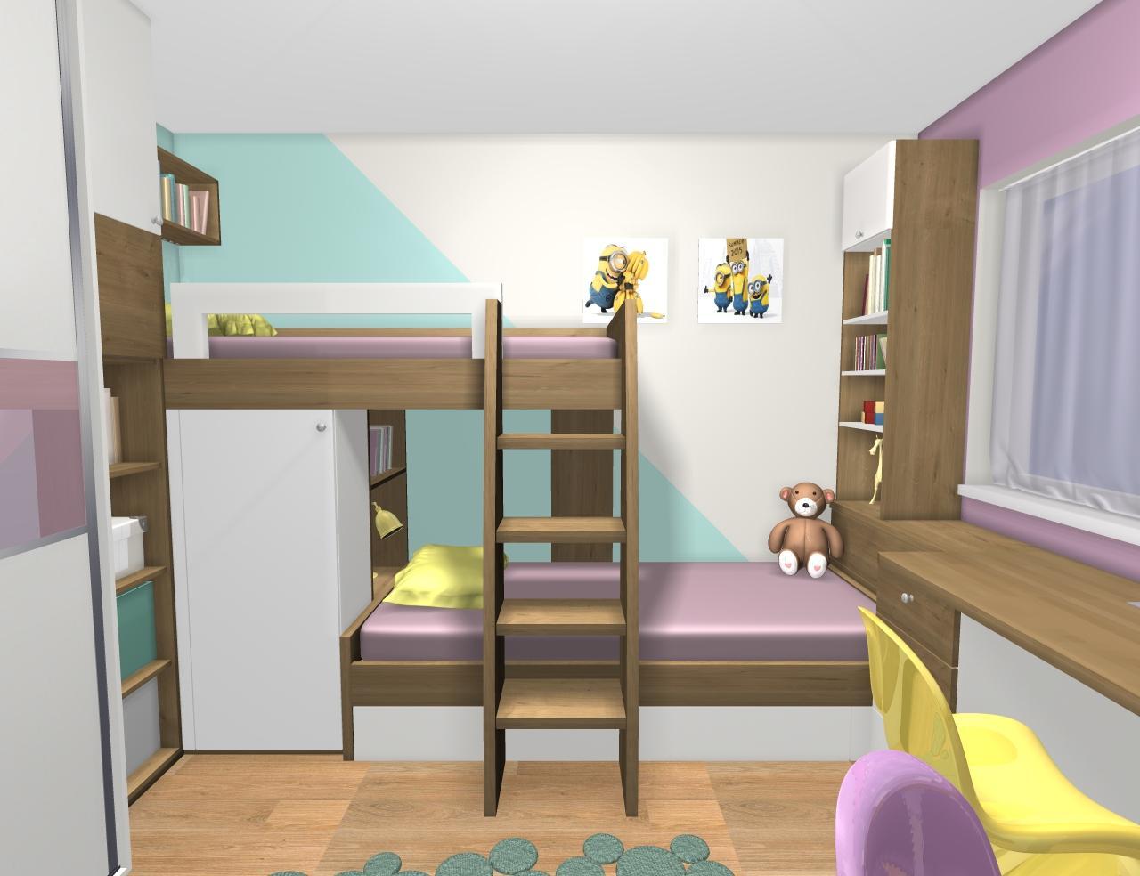 Grafické návrhy interiér 2019 - Grafický návrh detskej izby pre dve dievčatká - verzia 1 - obr.5