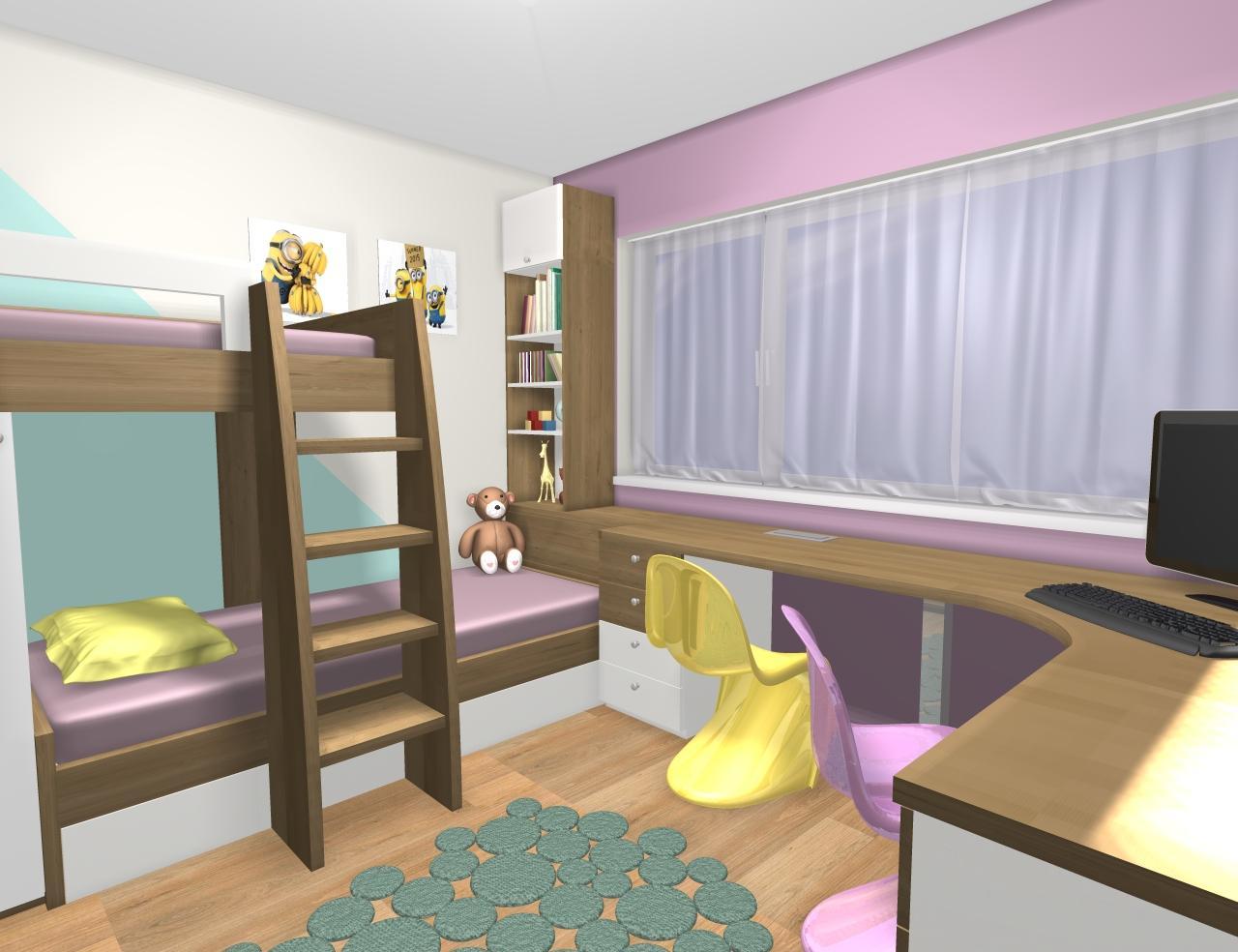 Grafické návrhy interiér 2019 - Grafický návrh detskej izby pre dve dievčatká - verzia 1 - obr.6