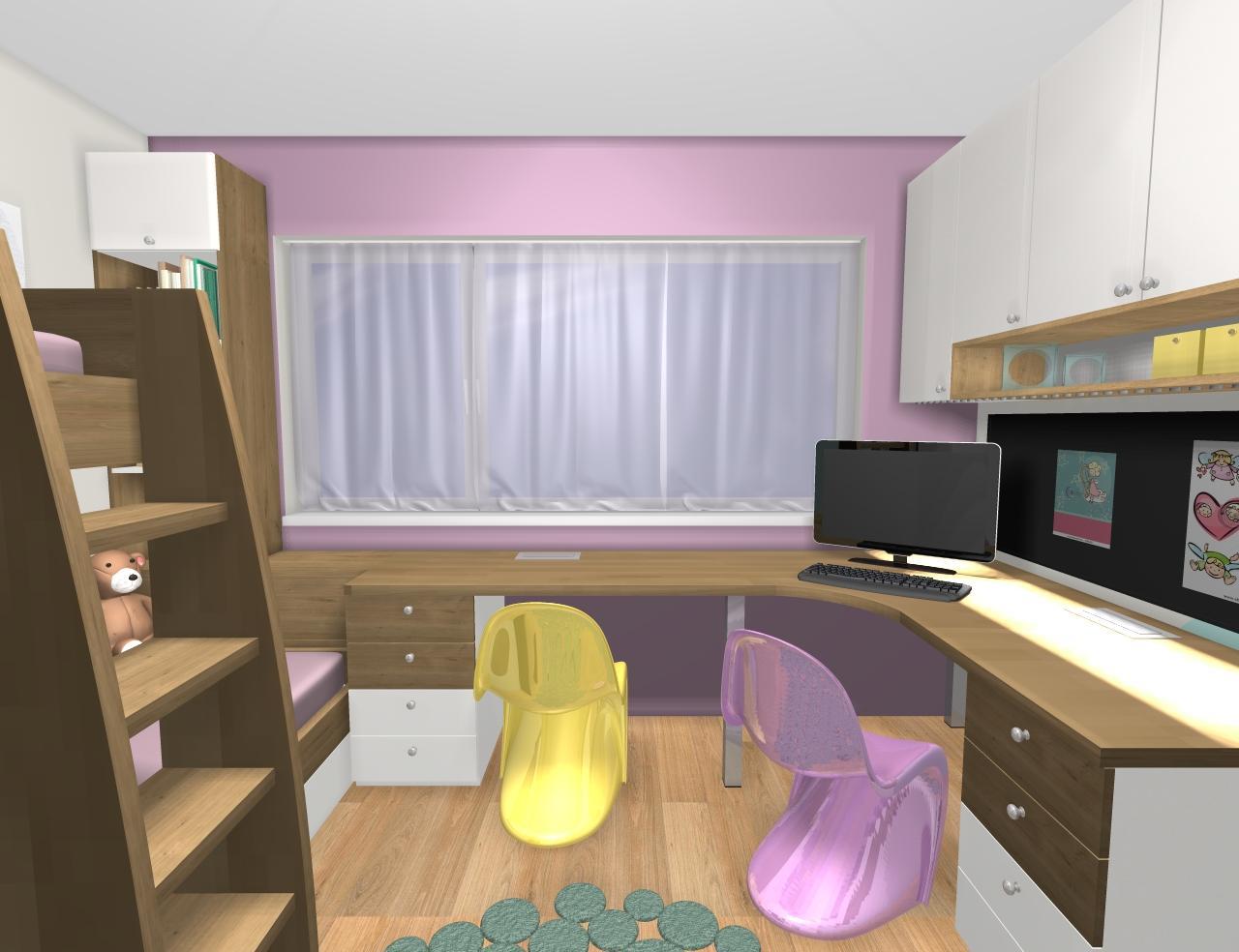 Grafické návrhy interiér 2019 - Grafický návrh detskej izby pre dve dievčatká - verzia 1 - obr.7