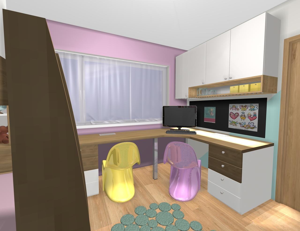 Grafické návrhy interiér 2019 - Grafický návrh detskej izby pre dve dievčatká - verzia 1 - obr.8