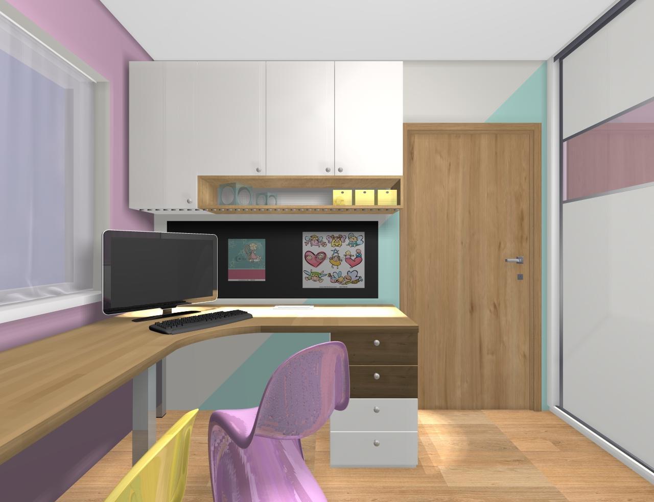 Grafické návrhy interiér 2019 - Grafický návrh detskej izby pre dve dievčatká - verzia 1 - obr.9