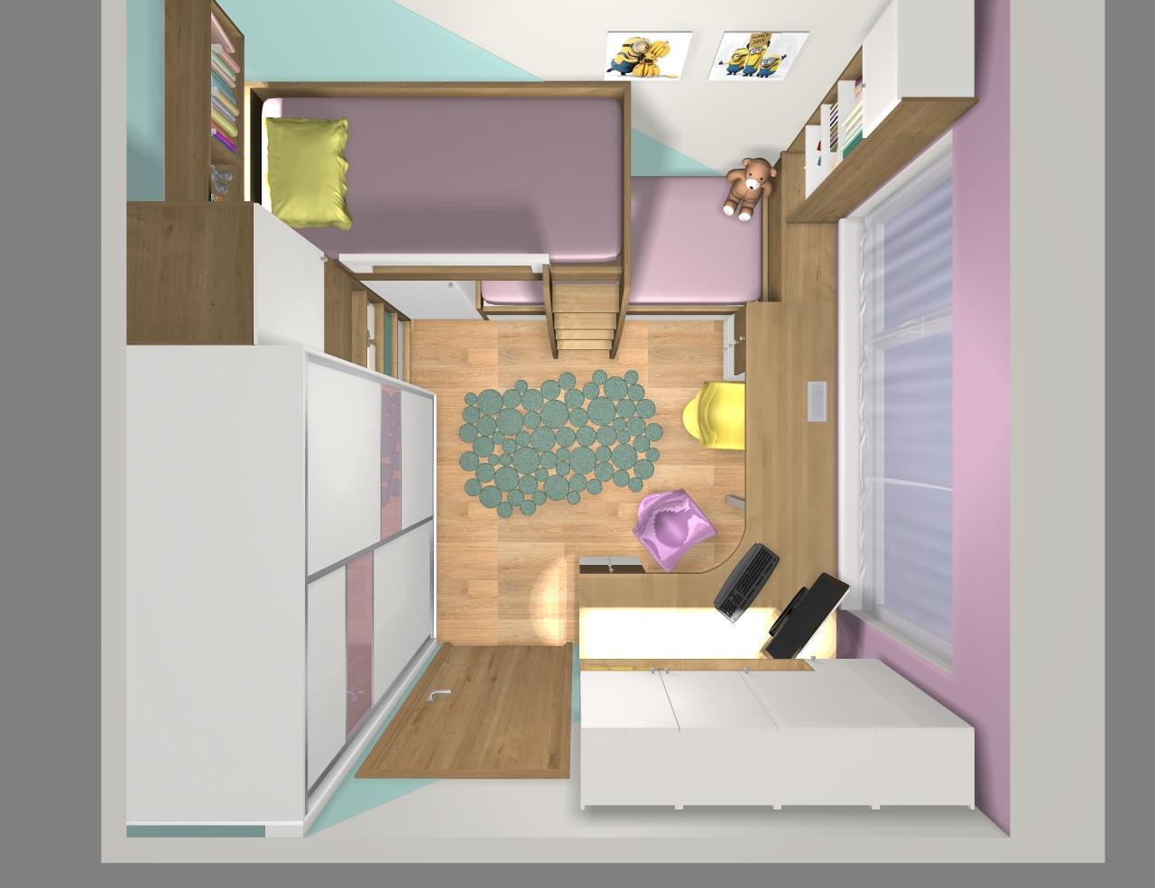 Grafické návrhy interiér 2019 - Grafický návrh detskej izby pre dve dievčatká - verzia 1 - obr.10