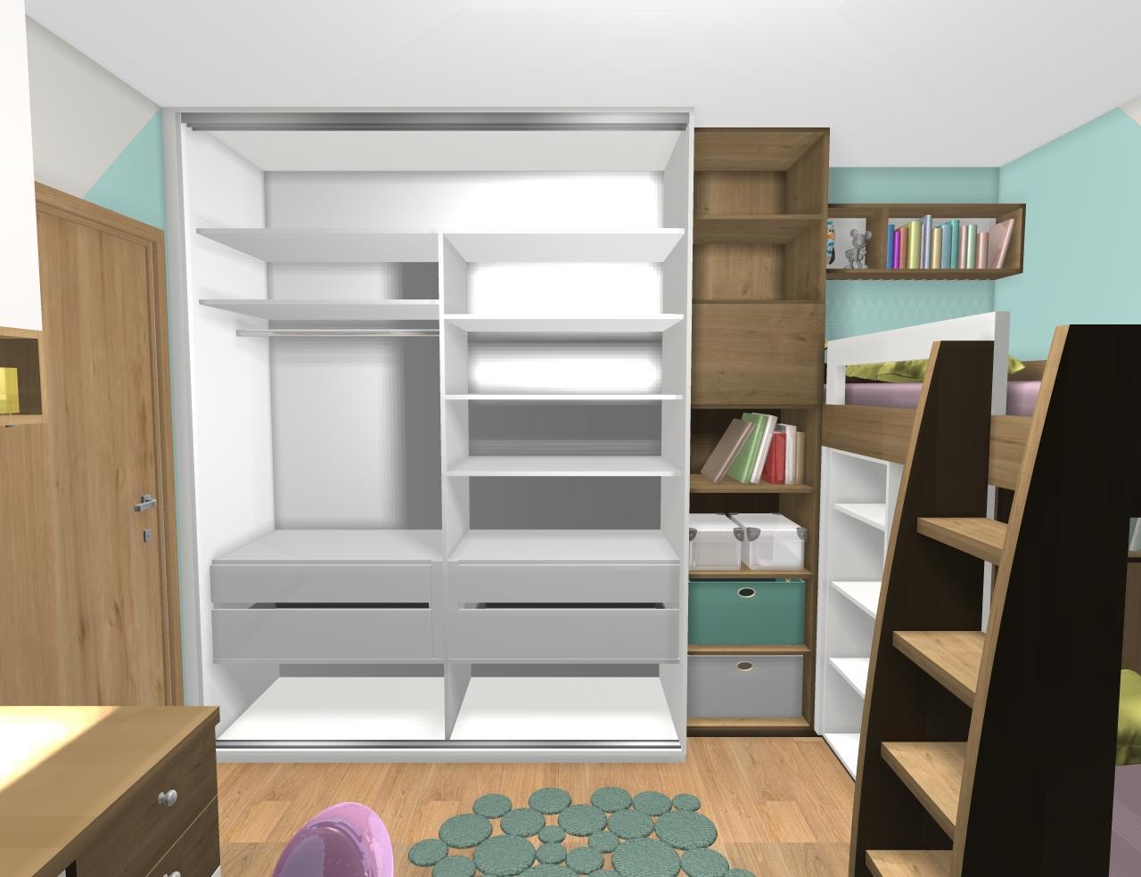 Grafické návrhy interiér 2019 - Grafický návrh detskej izby pre dve dievčatká - verzia 1 - obr.3