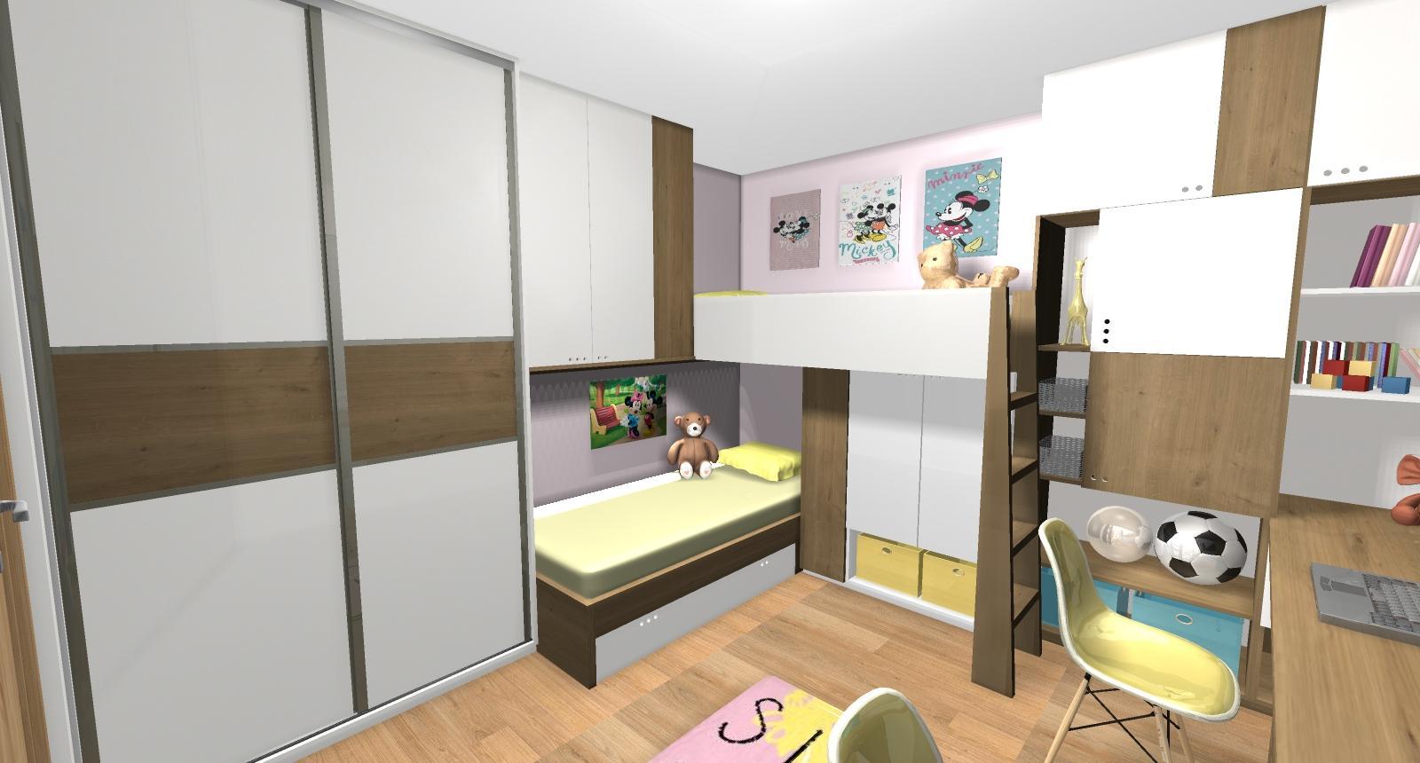 Grafické návrhy interiér 2019 - Grafický návrh detskej izby pre dve dievčatká - verzia 2 - obr.1