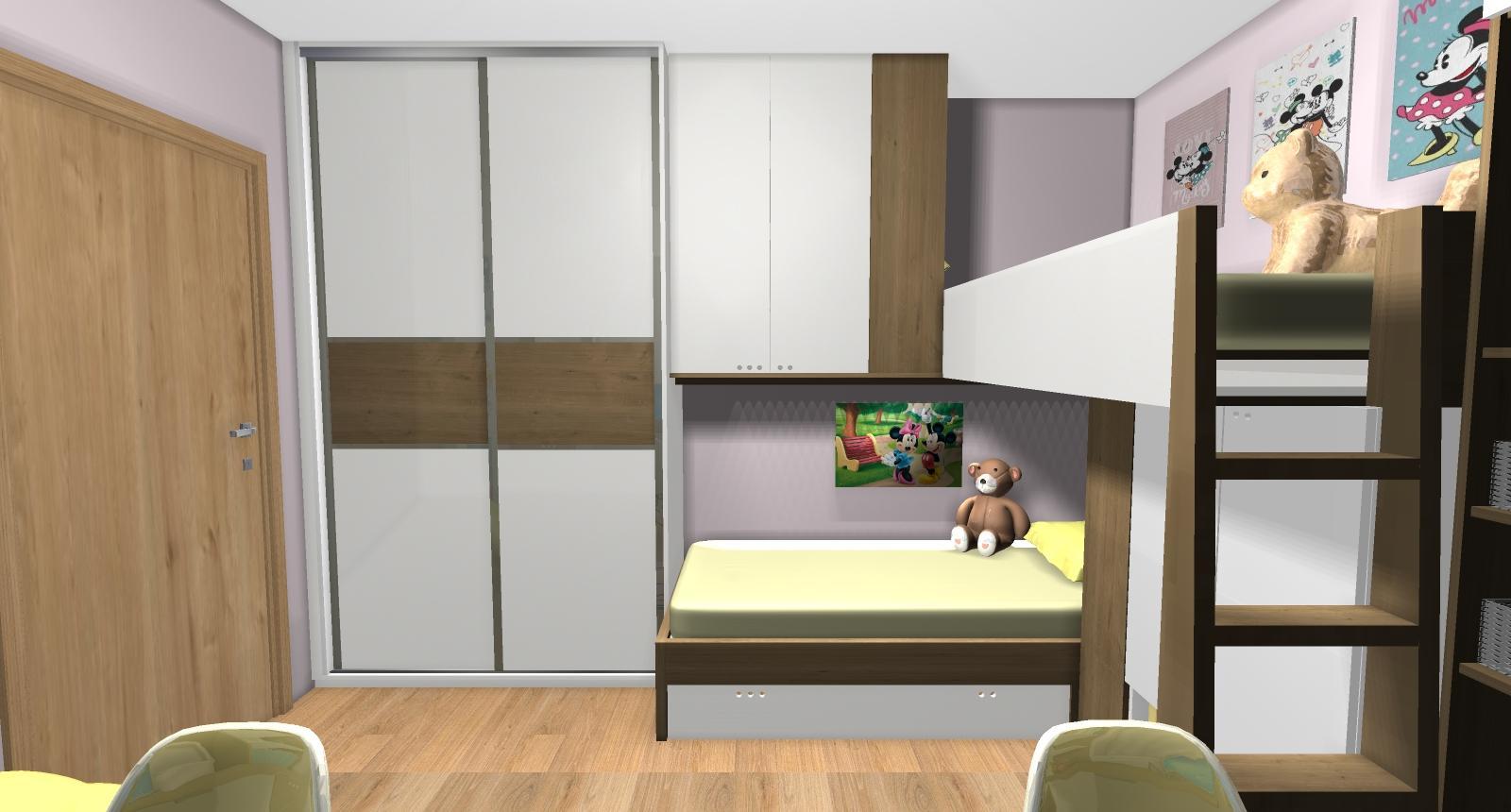 Grafické návrhy interiér 2019 - Grafický návrh detskej izby pre dve dievčatká - verzia 2 - obr.2