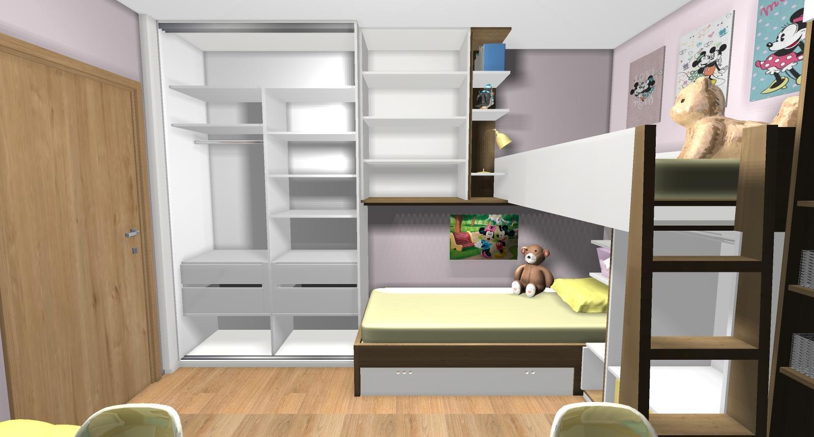 Grafické návrhy interiér 2019 - Grafický návrh detskej izby pre dve dievčatká - verzia 2 - obr.3