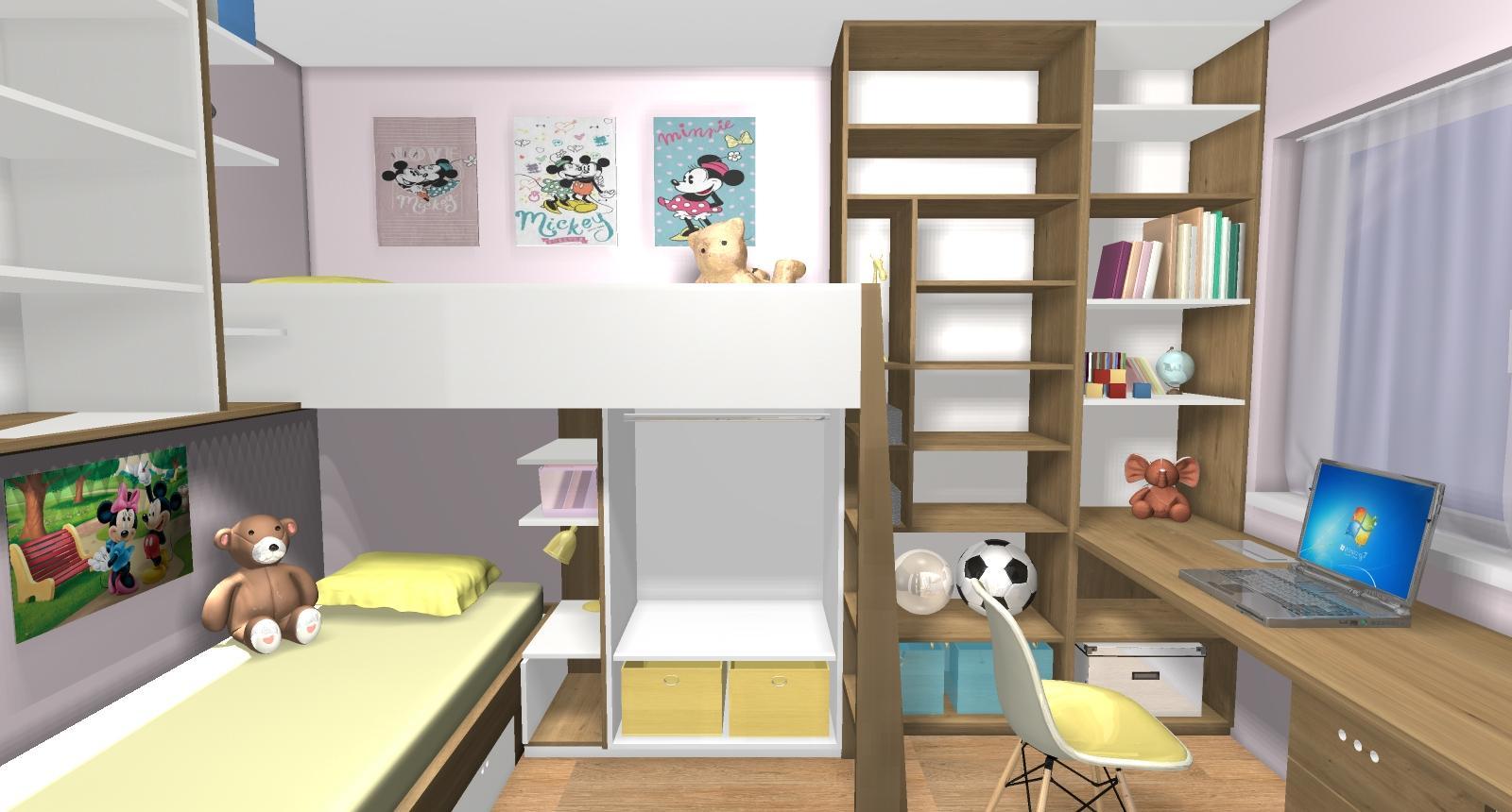 Grafické návrhy interiér 2019 - Grafický návrh detskej izby pre dve dievčatká - verzia 2 - obr.4
