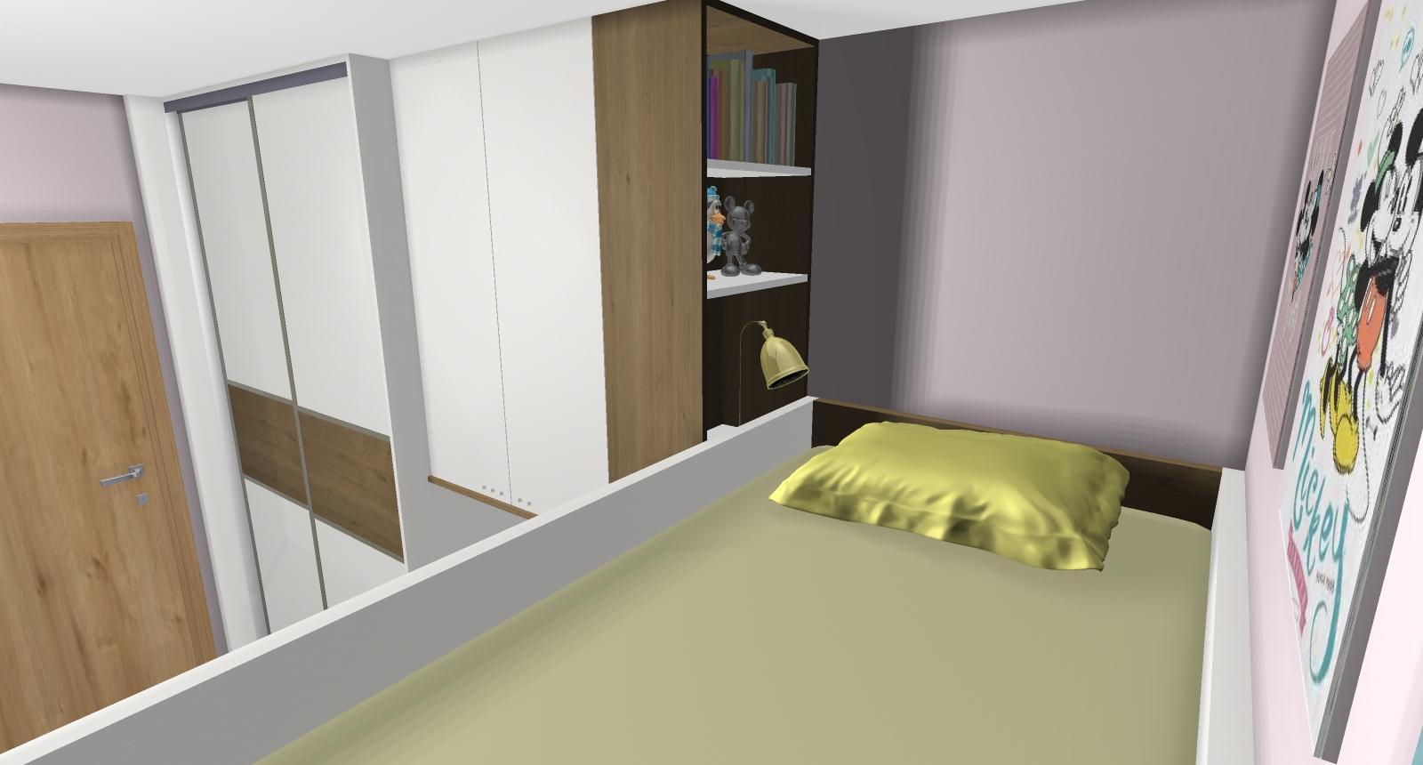 Grafické návrhy interiér 2019 - Grafický návrh detskej izby pre dve dievčatká - verzia 2 - obr.5