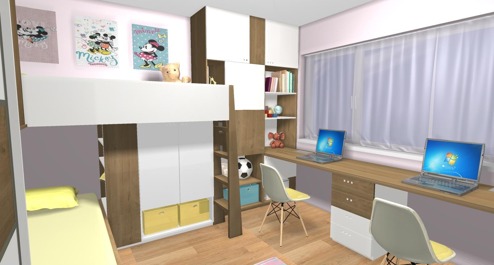 Grafické návrhy interiér 2019 - Grafický návrh detskej izby pre dve dievčatká - verzia 2 - obr.6