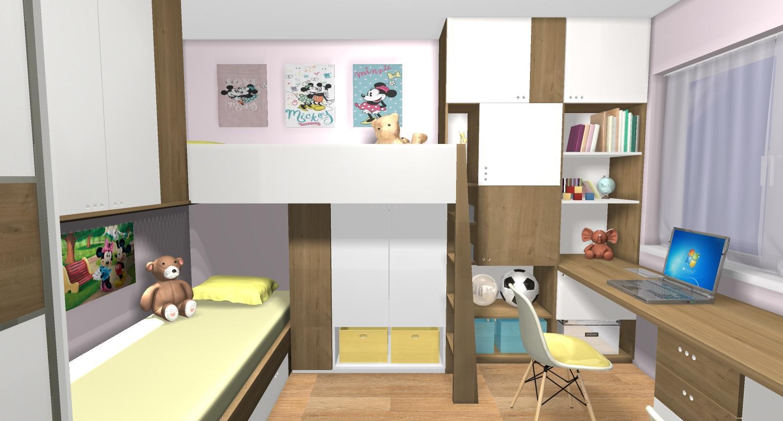 Grafické návrhy interiér 2019 - Grafický návrh detskej izby pre dve dievčatká - verzia 2 - obr.7