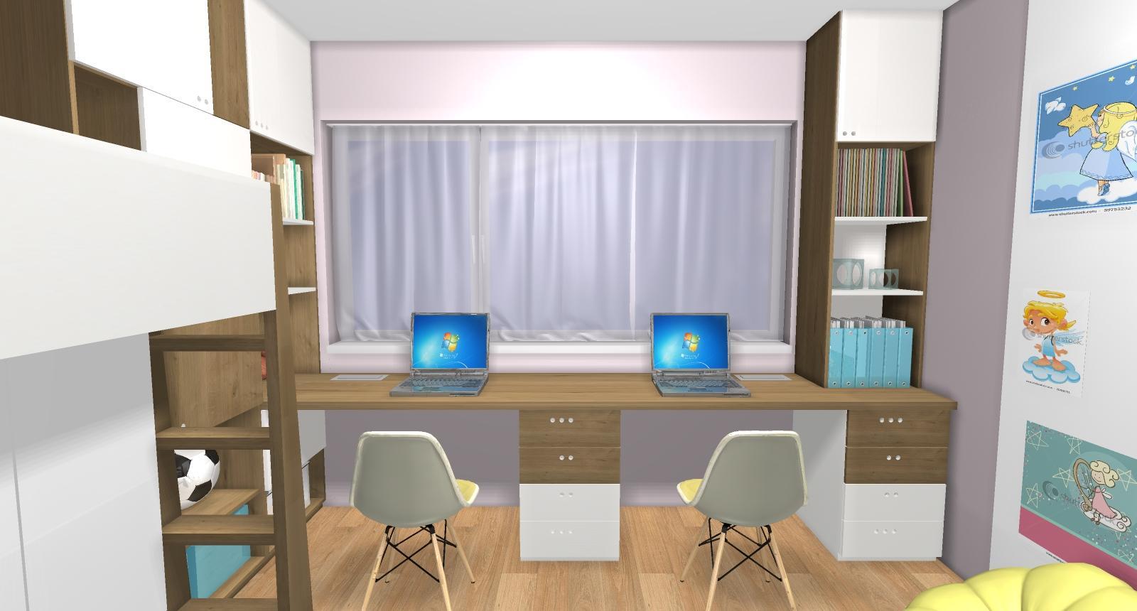 Grafické návrhy interiér 2019 - Grafický návrh detskej izby pre dve dievčatká - verzia 2 - obr.8