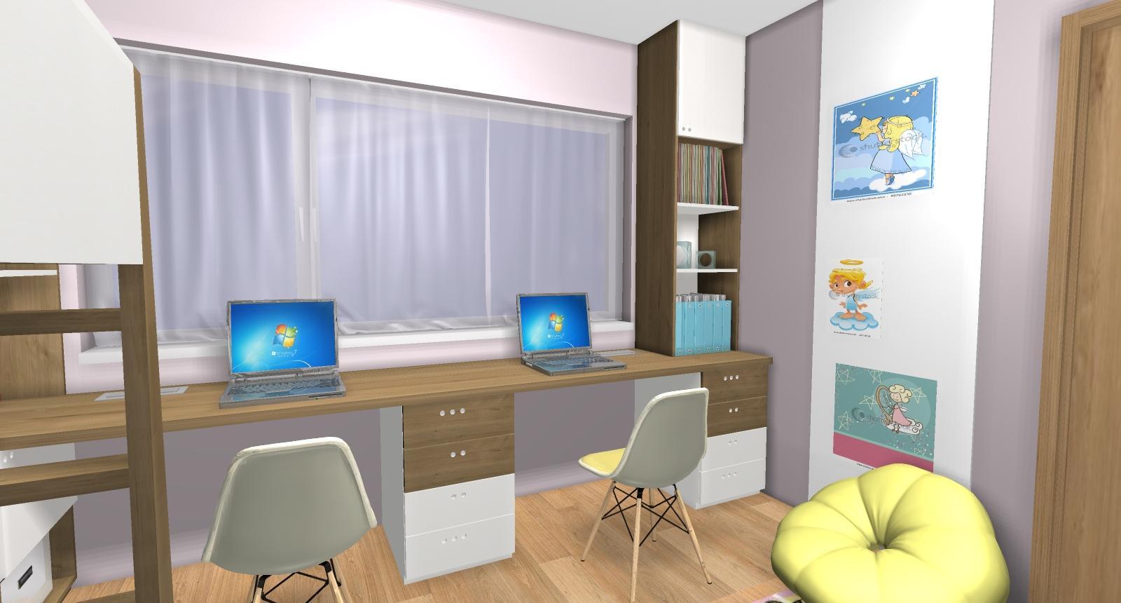 Grafické návrhy interiér 2019 - Grafický návrh detskej izby pre dve dievčatká - verzia 2 - obr.9