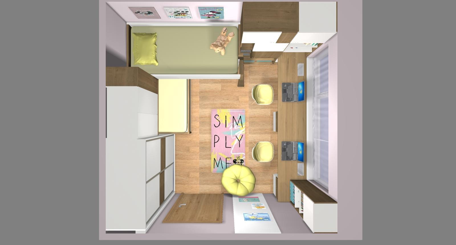 Grafické návrhy interiér 2019 - Grafický návrh detskej izby pre dve dievčatká - verzia 2 - obr.11