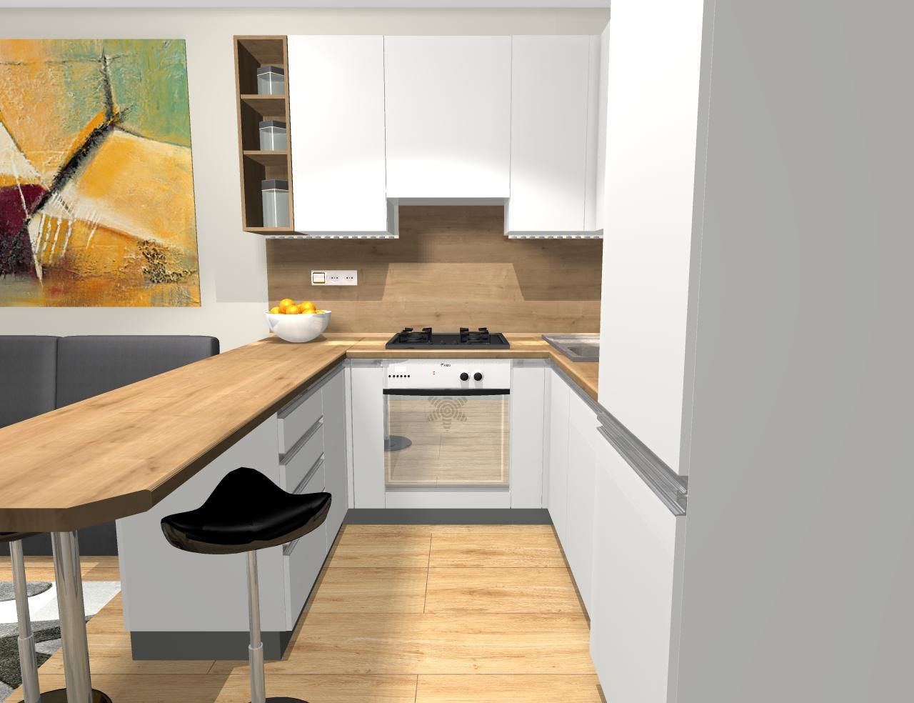 Grafické návrhy kuchynských liniek 2019 - Grafický návrh kuchyne v jednoizbovom byte v paneláku - obr.4