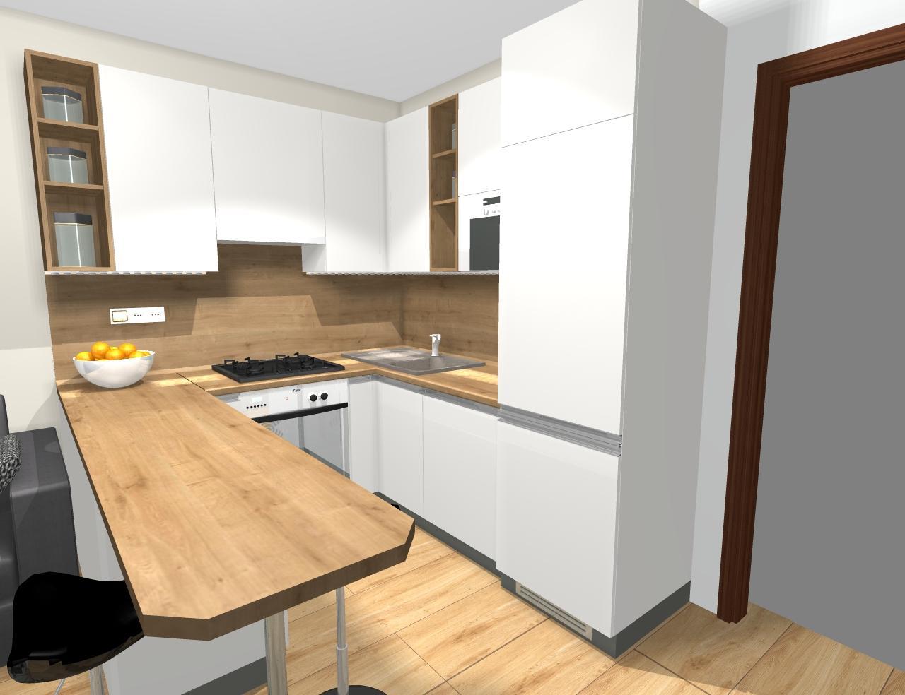 Grafické návrhy kuchynských liniek 2019 - Grafický návrh kuchyne v jednoizbovom byte v paneláku - obr.5