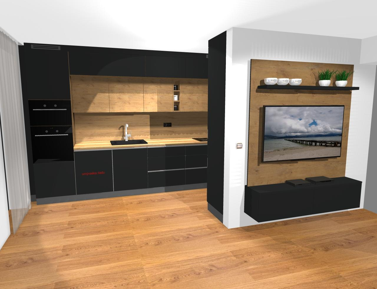 Grafické návrhy kuchynských liniek 2019 - Grafický návrh kuchyne a Tv steny do paneláku v BB - obr.1