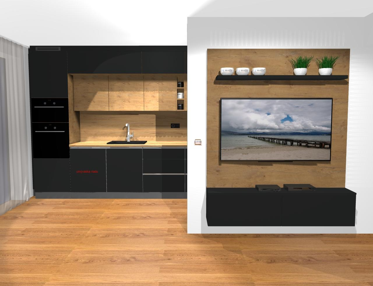 Grafické návrhy kuchynských liniek 2019 - Grafický návrh kuchyne a Tv steny do paneláku v BB - obr.2