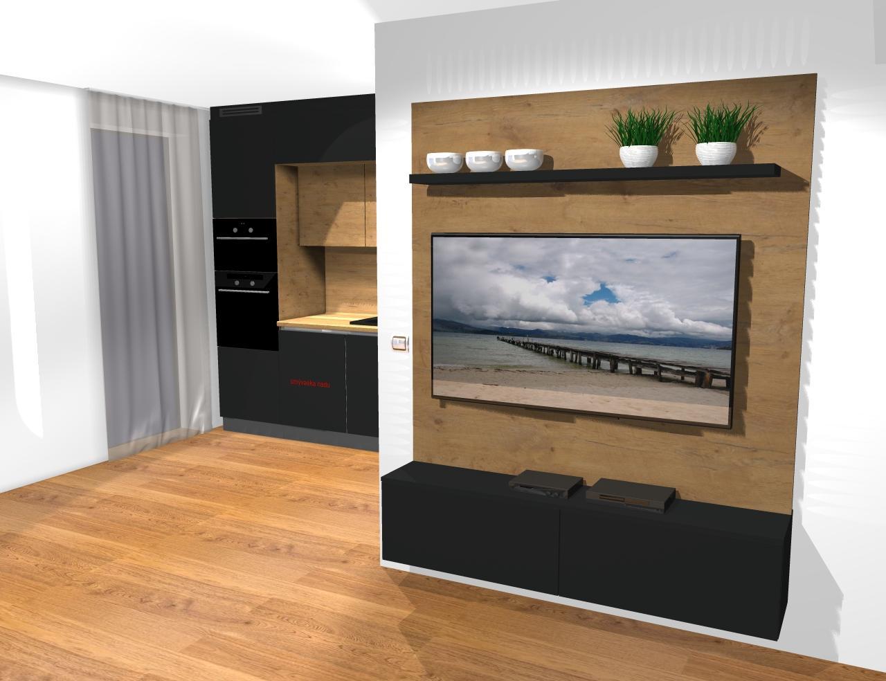 Grafické návrhy kuchynských liniek 2019 - Grafický návrh kuchyne a Tv steny do paneláku v BB - obr.3