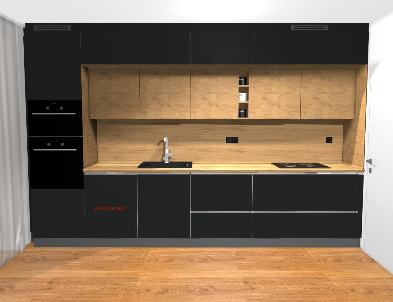 Grafické návrhy kuchynských liniek 2019 - Grafický návrh kuchyne a Tv steny do paneláku v BB - obr.7