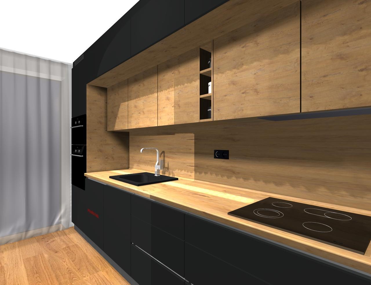 Grafické návrhy kuchynských liniek 2019 - Grafický návrh kuchyne a Tv steny do paneláku v BB - obr.8