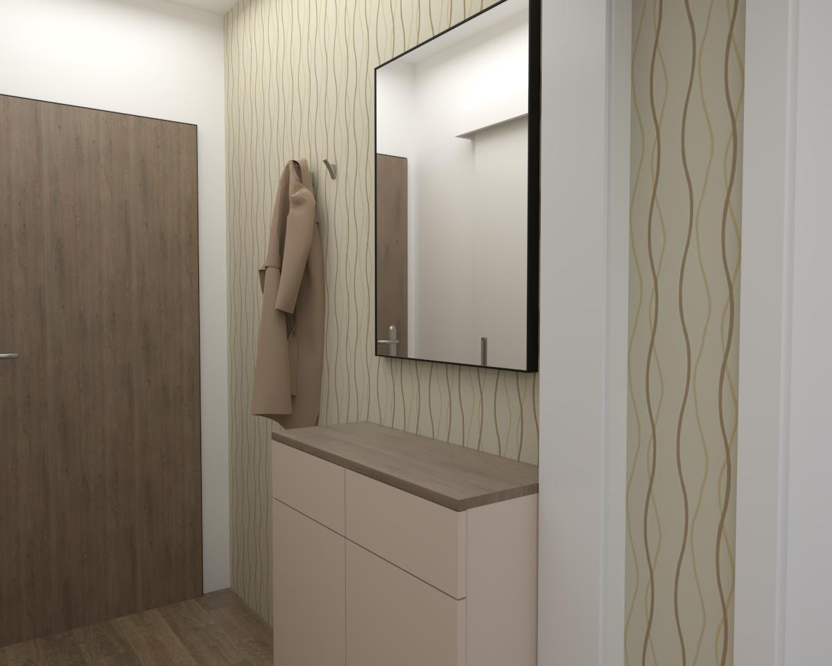 Grafické návrhy bytov - Zariadenie jednoizbového bytu v novostavbe Darinka v ZV - návrh vstupnej chodby - verzia 1