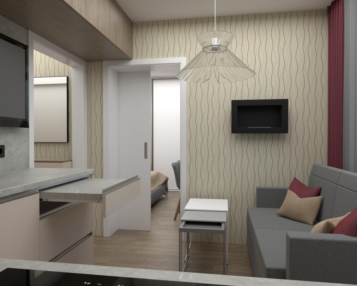 Grafické návrhy bytov - Zariadenie jednoizbového bytu v novostavbe Darinka v ZV - návrh kuchyne spolu s malou obývačkou - verzia 1