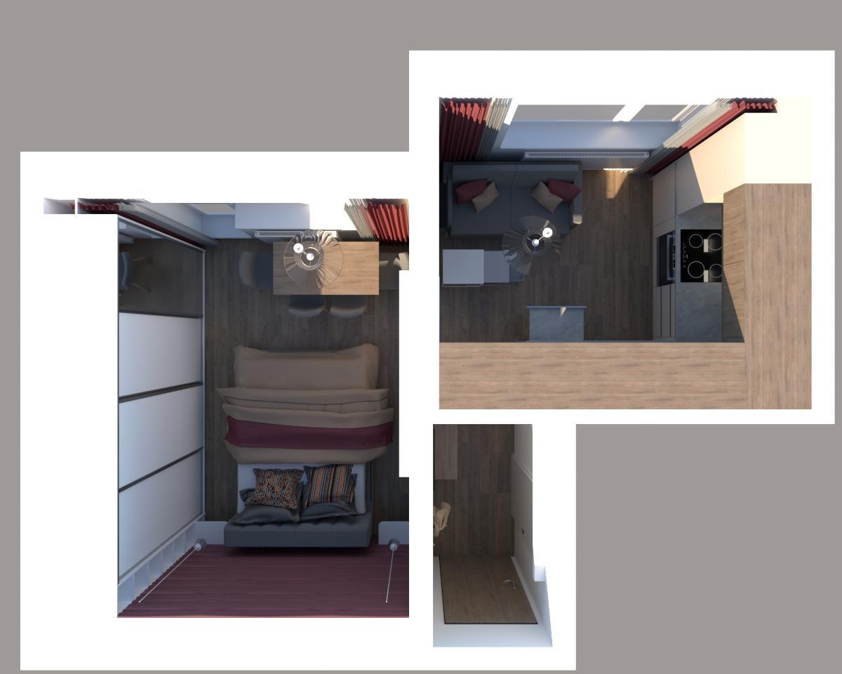 Grafické návrhy bytov - Zariadenie jednoizbového bytu v novostavbe Darinka v ZV - pôdorys - verzia 1