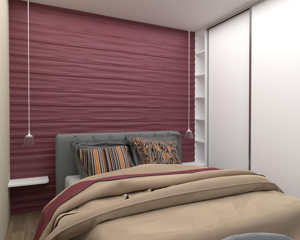 Grafické návrhy bytov - Zariadenie jednoizbového bytu v novostavbe Darinka v ZV - návrh spálne - verzia 1