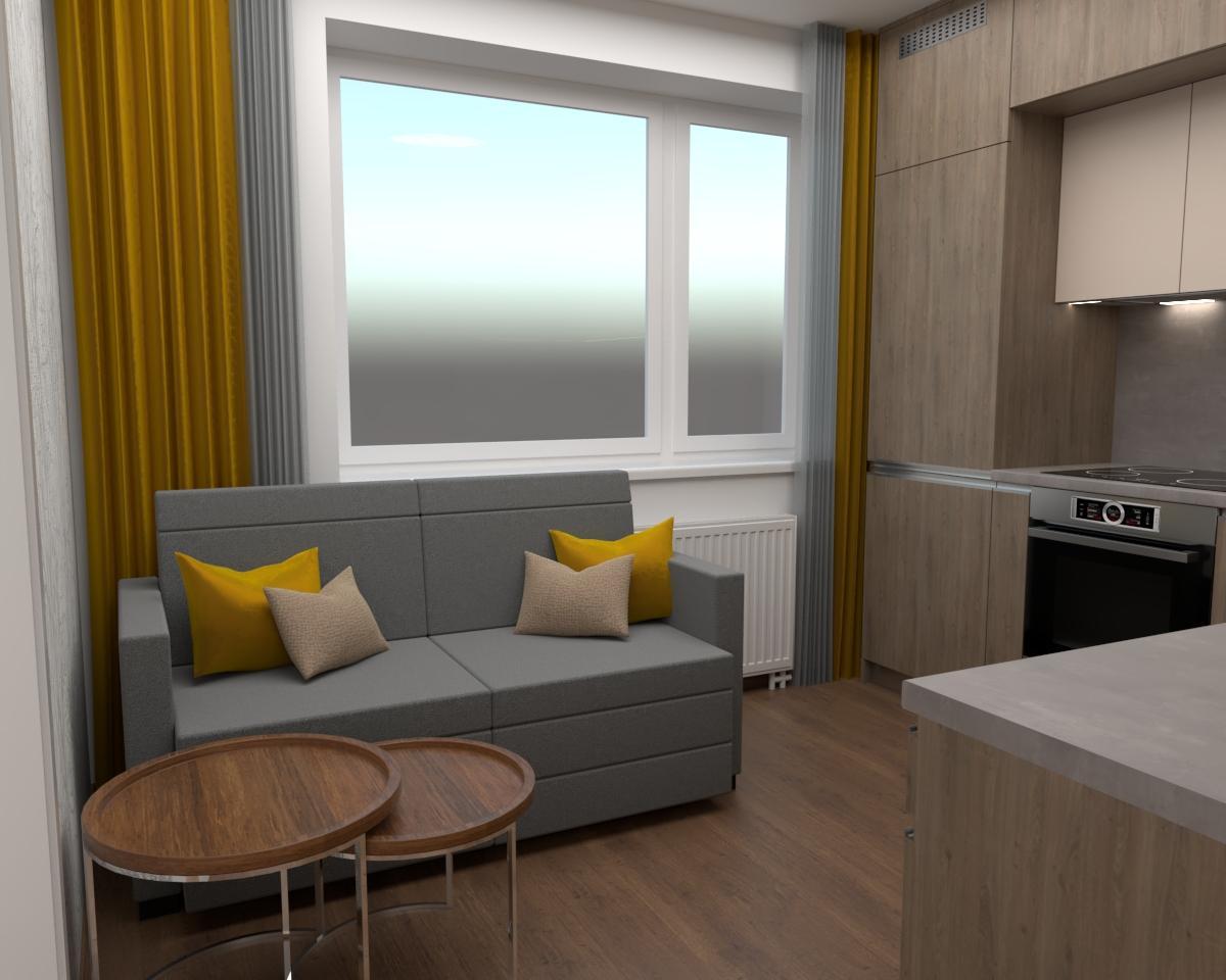 Grafické návrhy kuchynských liniek 2019 - Grafický návrh kuchyne spolu s malou obývačkou v jednoizbovom byte v novostavbe v ZV - obr.3