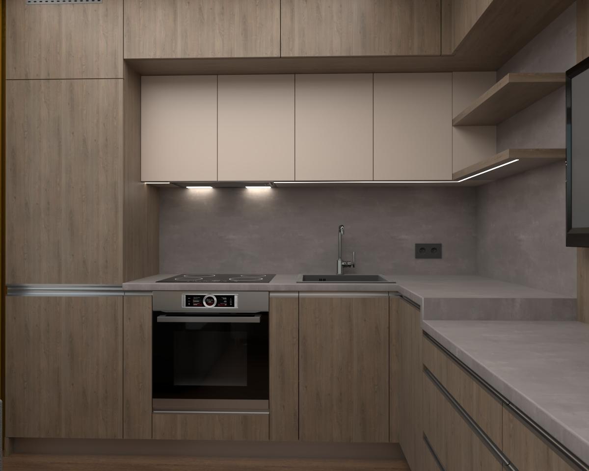 Grafické návrhy kuchynských liniek 2019 - Grafický návrh kuchyne spolu s malou obývačkou v jednoizbovom byte v novostavbe v ZV - obr.2