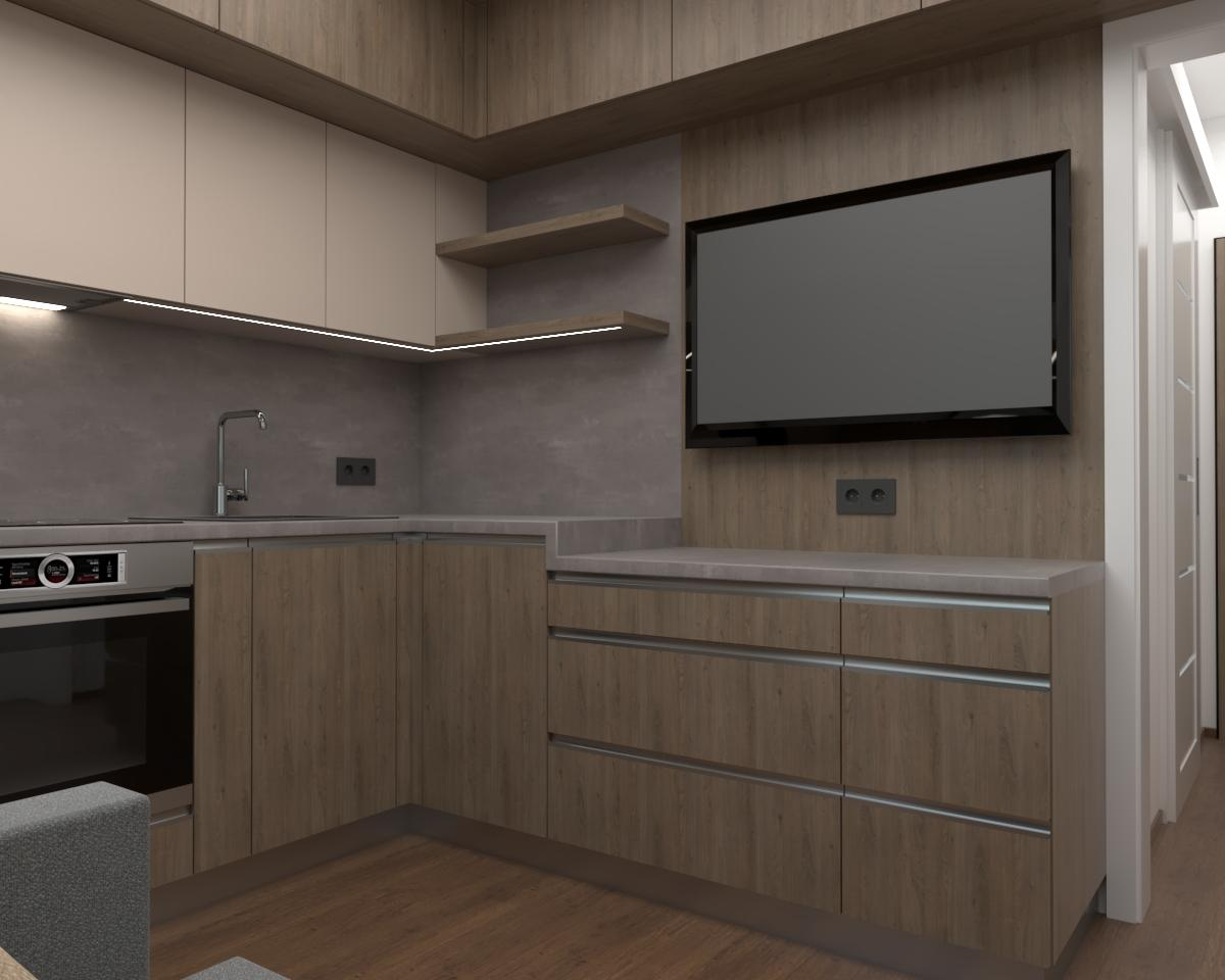 Grafické návrhy kuchynských liniek 2019 - Grafický návrh kuchyne spolu s malou obývačkou v jednoizbovom byte v novostavbe v ZV - obr.1