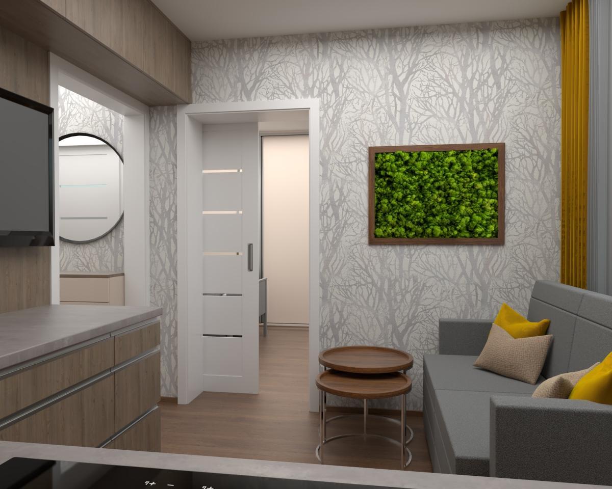Grafické návrhy kuchynských liniek 2019 - Grafický návrh kuchyne spolu s malou obývačkou v jednoizbovom byte v novostavbe v ZV - obr.4