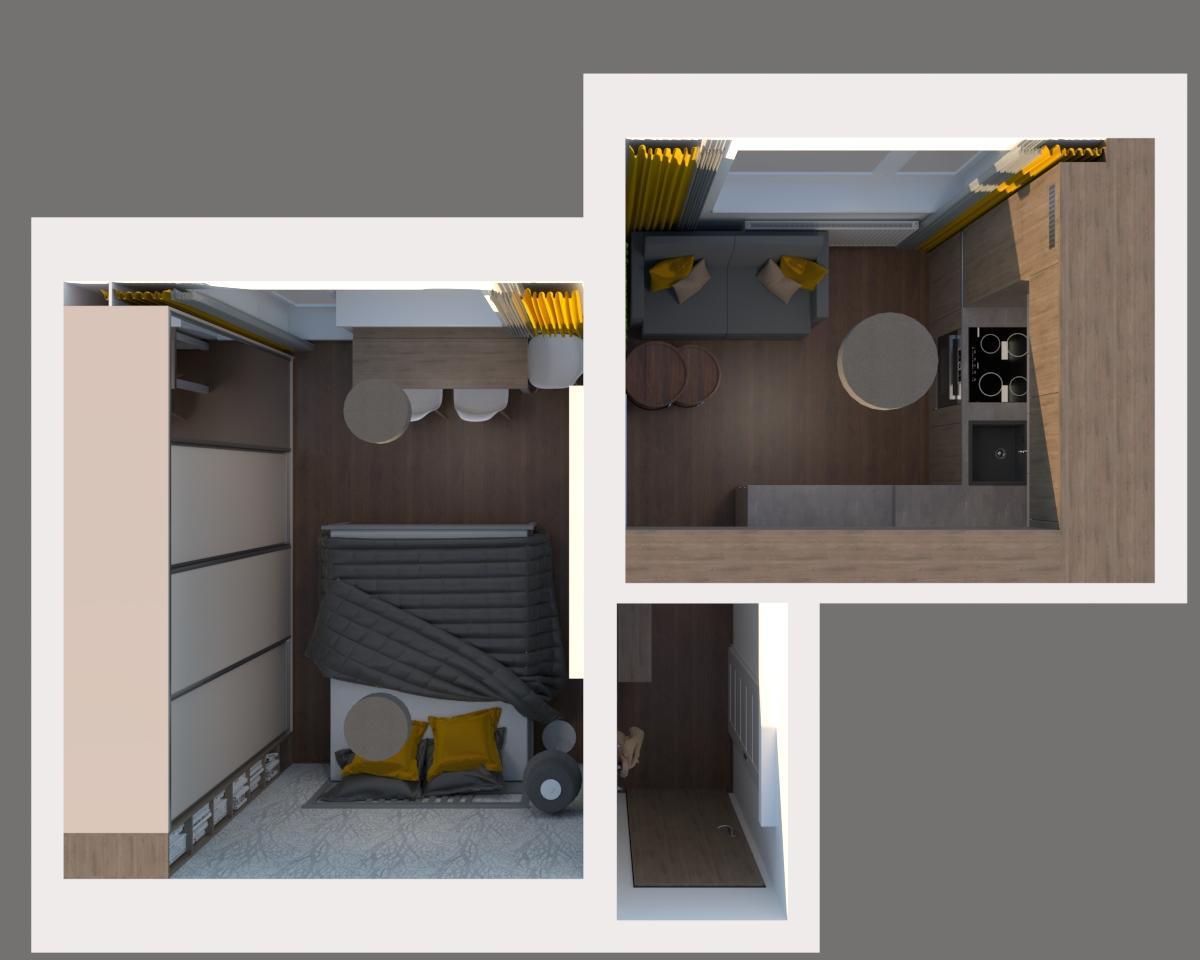 Grafické návrhy kuchynských liniek 2019 - Grafický návrh kuchyne spolu s malou obývačkou v jednoizbovom byte v novostavbe v ZV - obr.6