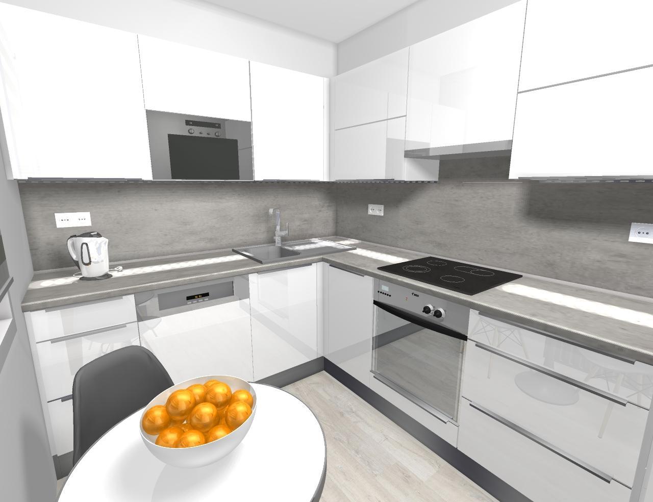 Grafické návrhy kuchynských liniek 2020 - návrh kuchynskej linky do paneláku v Zv - obr.1