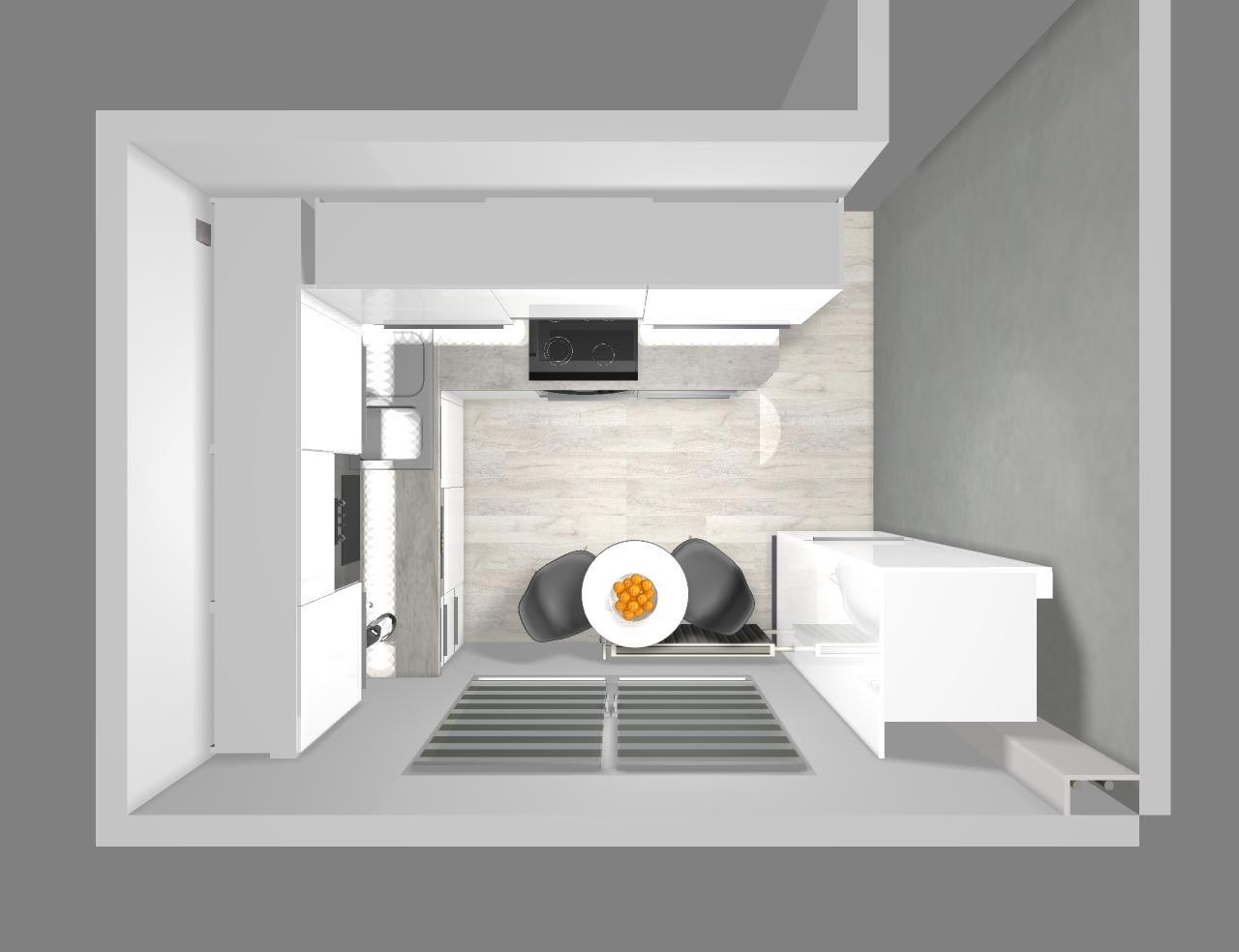 Grafické návrhy kuchynských liniek 2020 - návrh kuchynskej linky do paneláku v Zv - obr.7