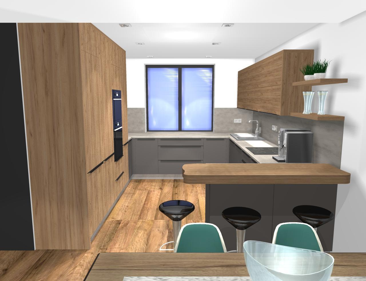 ryska25 - Grafický návrh kuchynskej linky v rodinnom dome v BB - obr.1