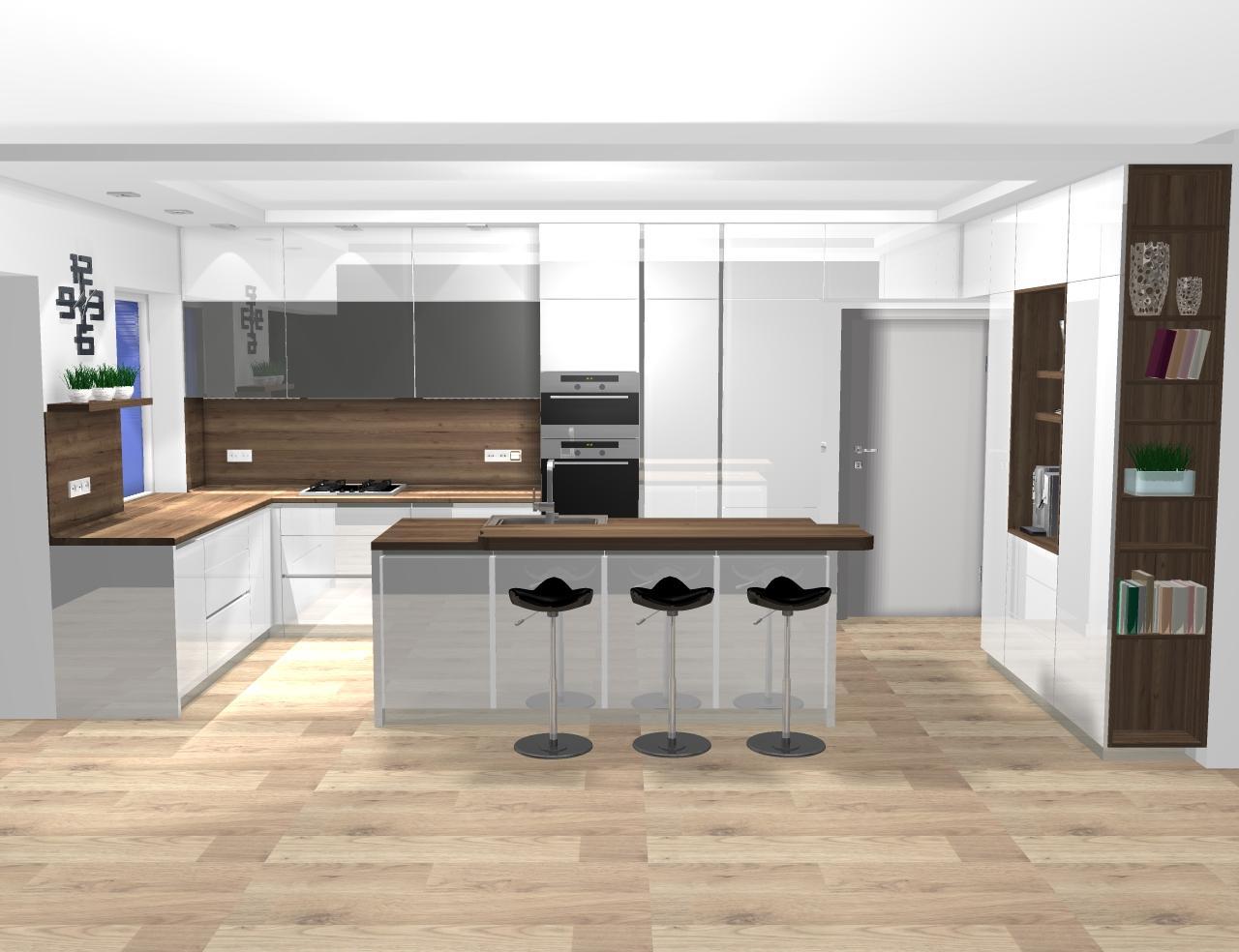 Grafické návrhy kuchynských liniek 2020 - návrh kuchynskej linky do rodinného domu -verzia 1 - obr.1