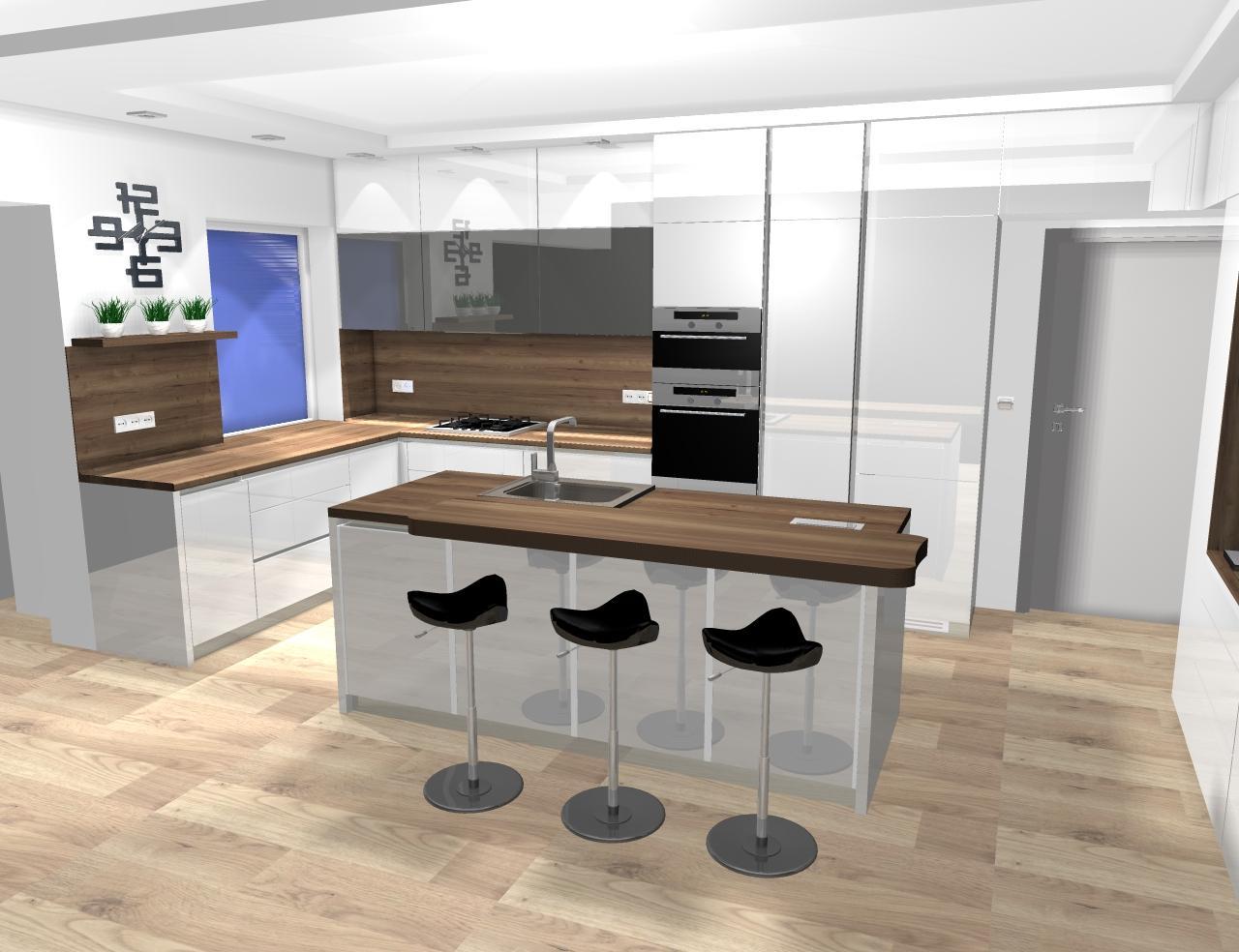 Grafické návrhy kuchynských liniek 2020 - návrh kuchynskej linky do rodinného domu -verzia 1 - obr.2