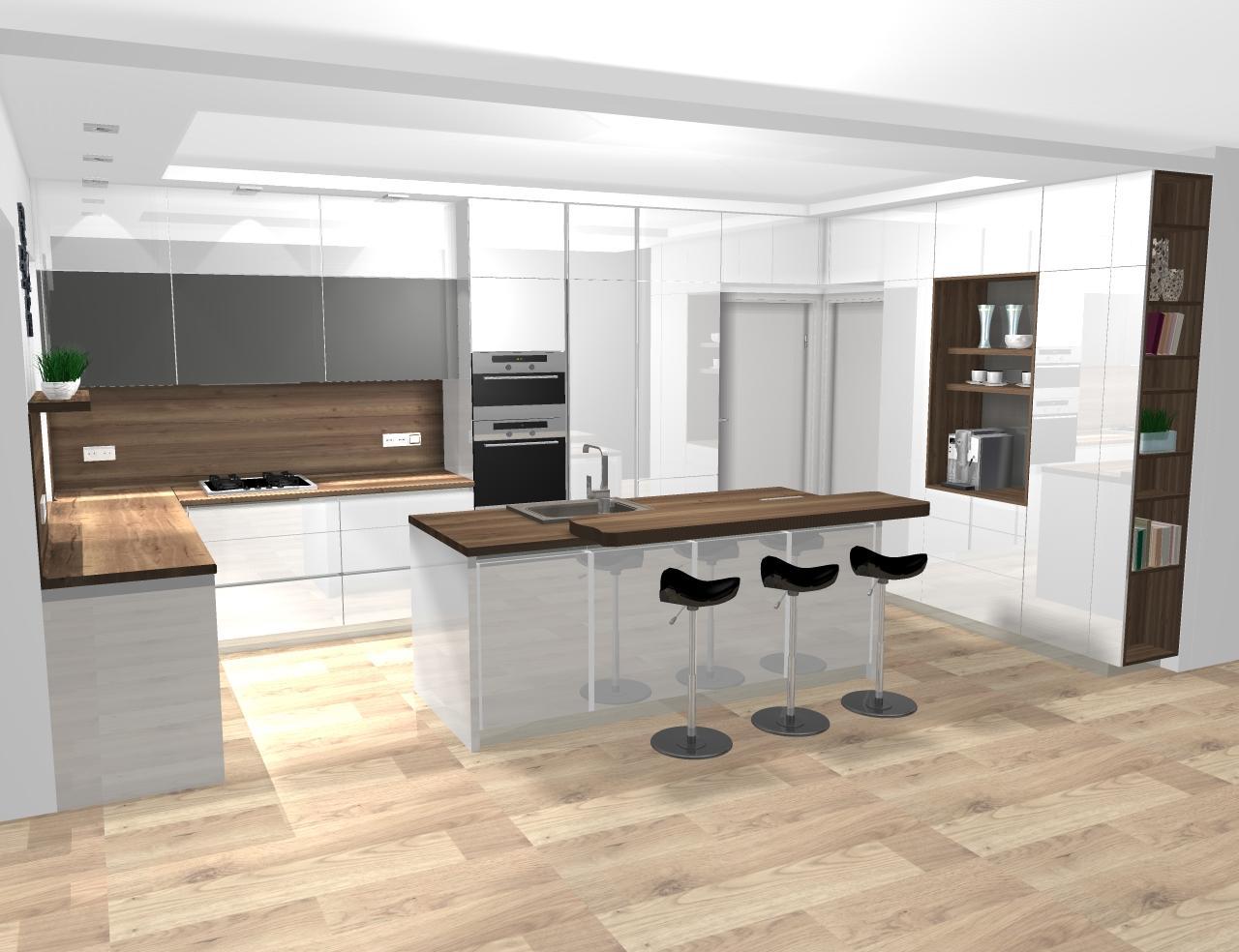 Grafické návrhy kuchynských liniek 2020 - návrh kuchynskej linky do rodinného domu -verzia 1 - obr.3