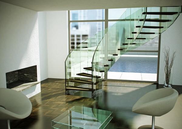 Schody - sklo a drevo - schody Siller 15