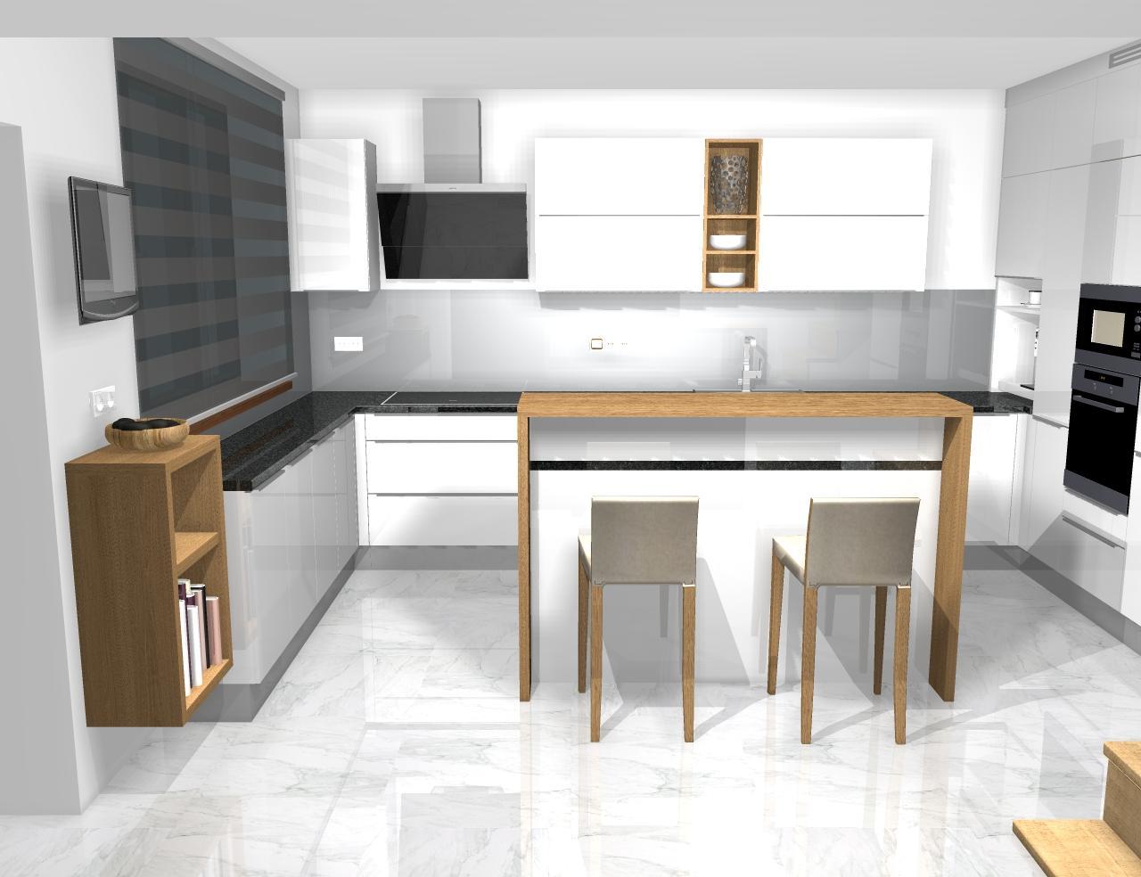 Grafické návrhy kuchynských liniek 2020 - Grafický návrh kuchynskej linky do rodinného domu - obr.1