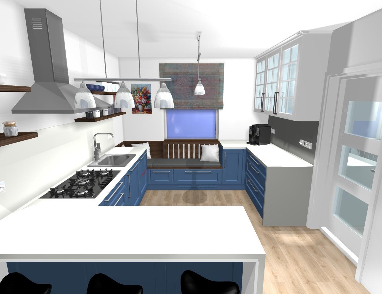 Grafické návrhy kuchynských liniek 2020 - Grafický návrh kuchynskej linky do rodinného domu vo Svätom Antone - obr.2