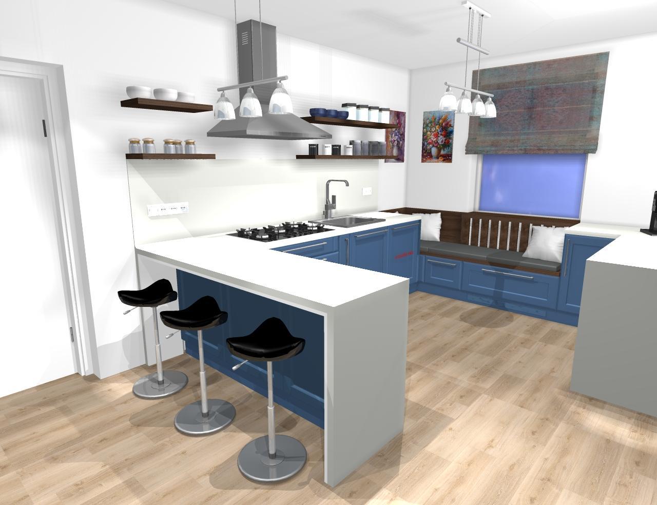 Grafické návrhy kuchynských liniek 2020 - Grafický návrh kuchynskej linky do rodinného domu vo Svätom Antone - obr.1
