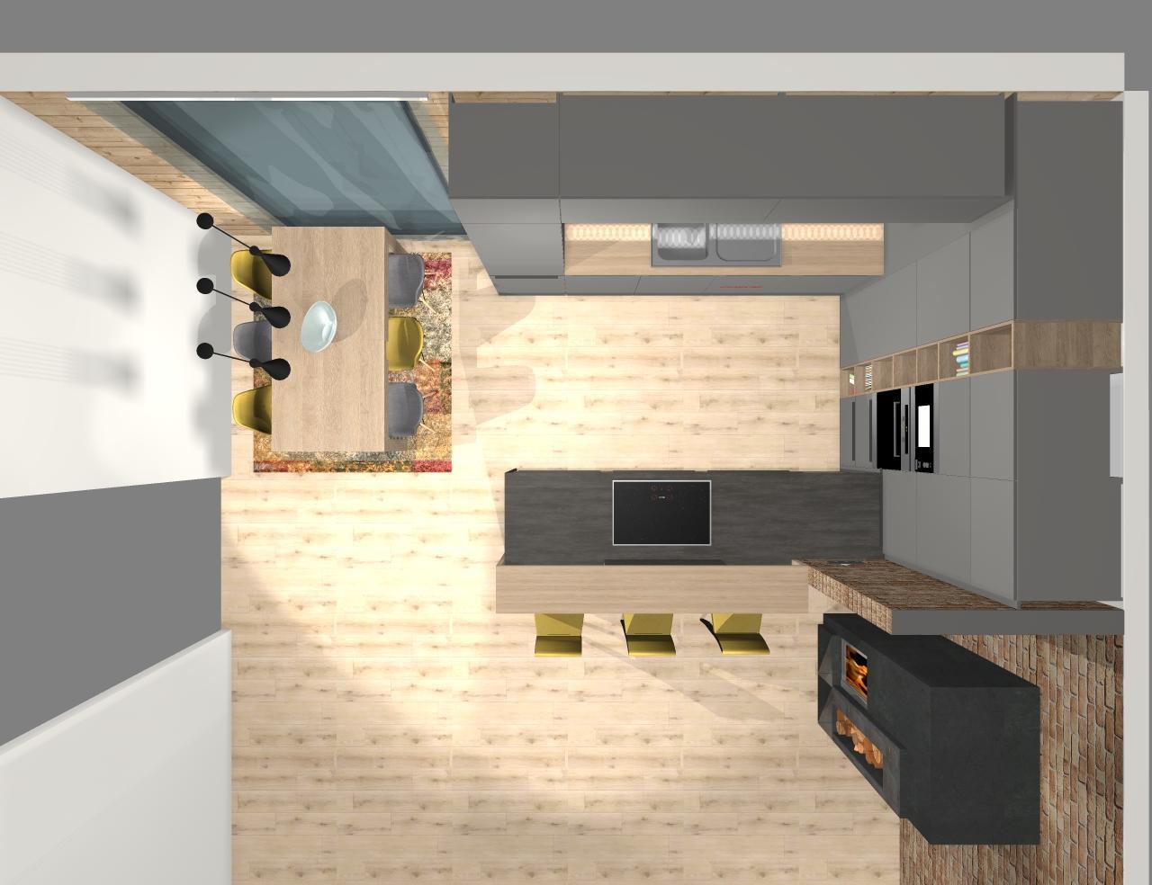Grafické návrhy kuchynských liniek 2020 - Grafický návrh kuchynskej linky do fínskeho zrubu - obr.10