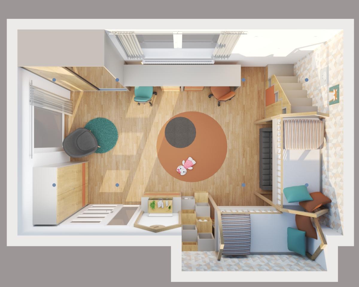 Grafické návrhy interiér 2020 - Grafický návrh detskej izby do rodinného domu - verzia 1 - obr.5