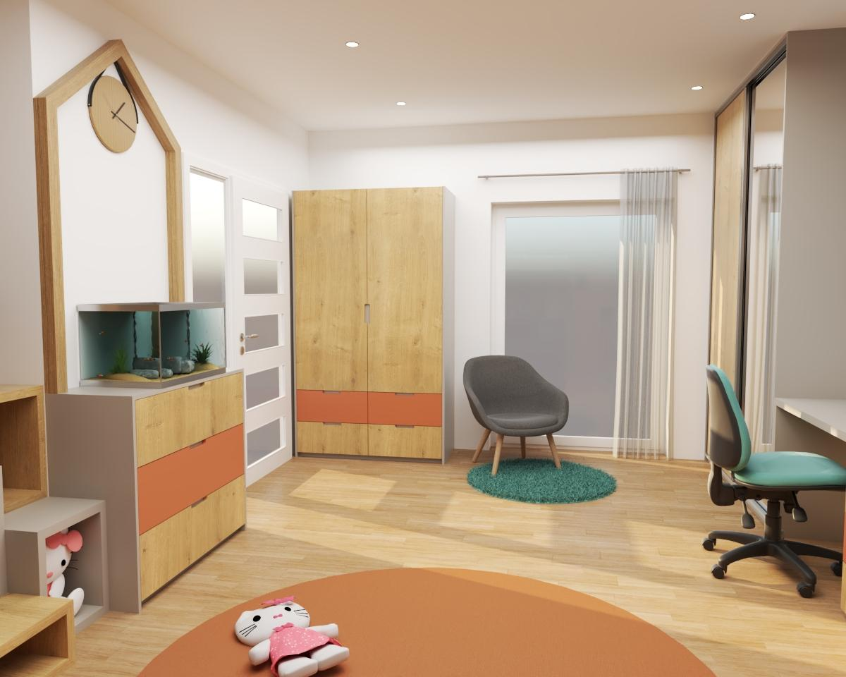Grafické návrhy interiér 2020 - Grafický návrh detskej izby do rodinného domu - verzia 1 - obr.3