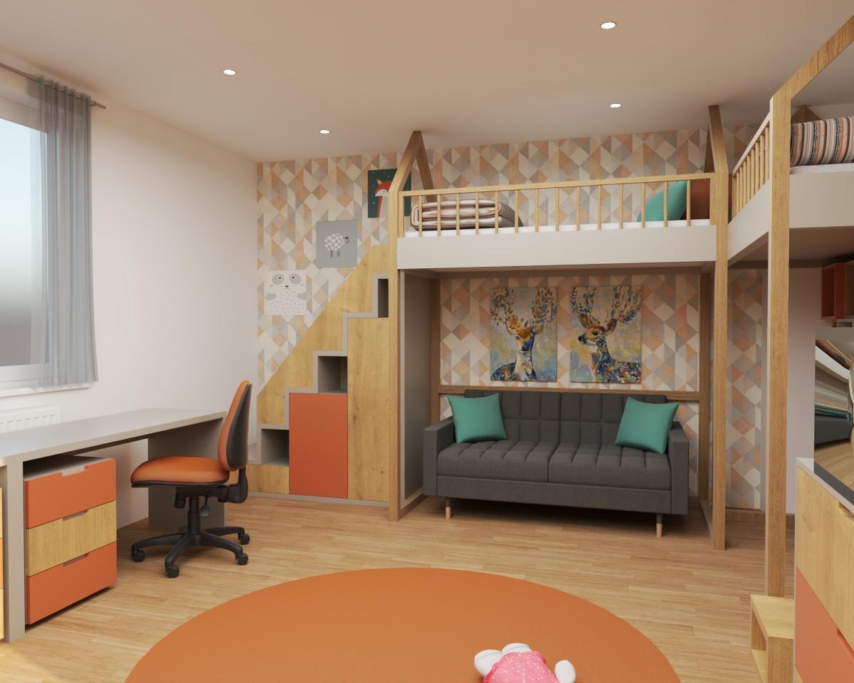 Grafické návrhy interiér 2020 - Grafický návrh detskej izby do rodinného domu - verzia 1 - obr.1