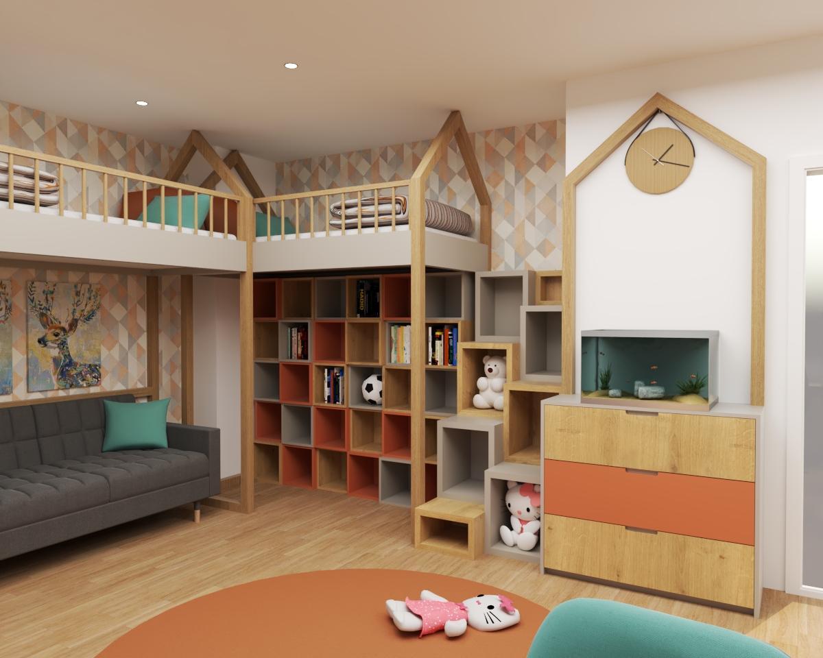 Grafické návrhy interiér 2020 - Grafický návrh detskej izby do rodinného domu - verzia 1 - obr.2