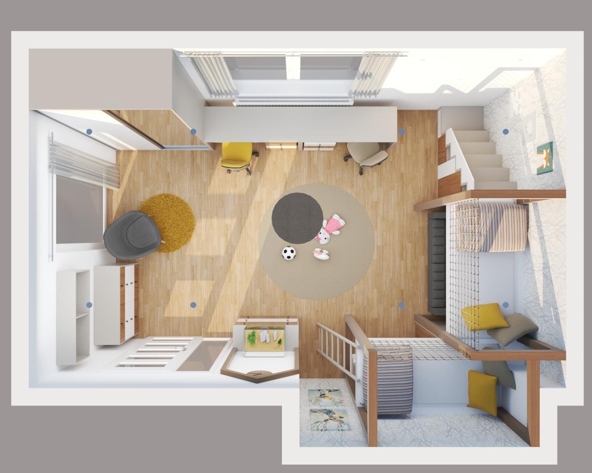 Grafické návrhy interiér 2020 - Grafický návrh detskej izby do rodinného domu - verzia 2- obr.5
